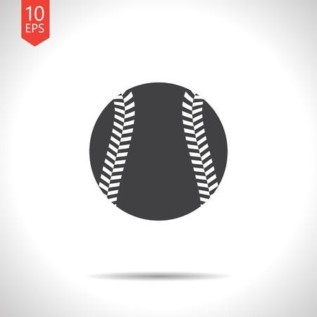 sphere base: Vector flat black baseball icon on white background