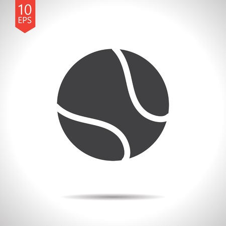 tennisball: Vector flat black tennis ball icon on white background