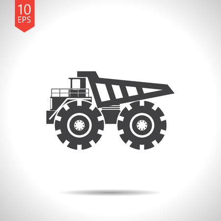 tractor sign: Vector flat black heavy machine icon on white background Illustration