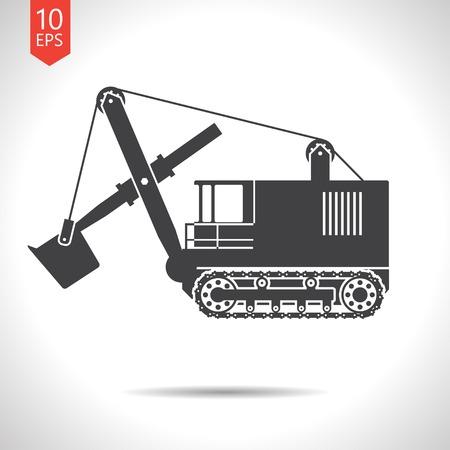 heavy: Vector flat black heavy machine icon on white background Illustration