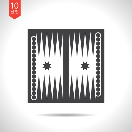 backgammon: Vector flat black backgammon table with dices icon on white background Illustration