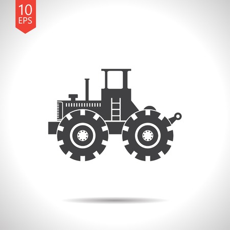 land development: Vector flat black heavy machine icon on white background Illustration