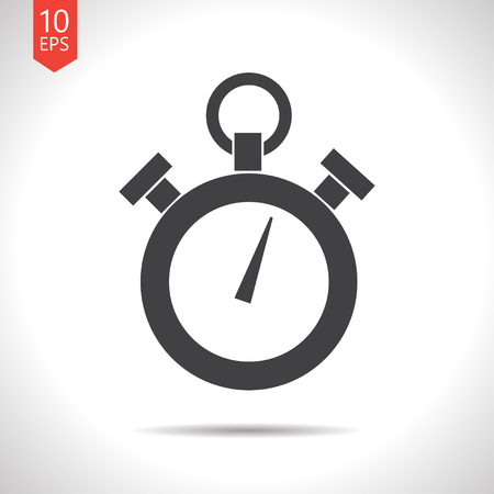 watch movement: Vector flat black retro stopwatch icon on white background