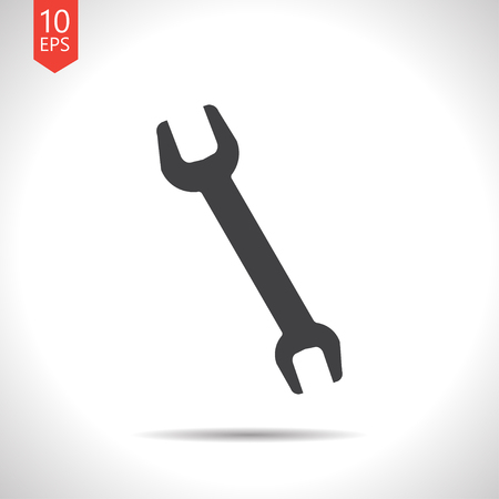adjustable: Vector flat black adjustable wrench icon on white background