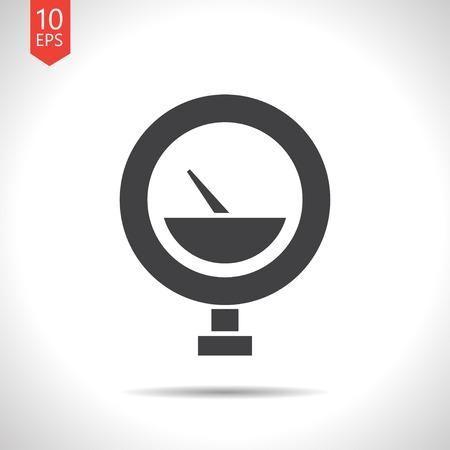 manometer: Vector flat black manometer icon on white background