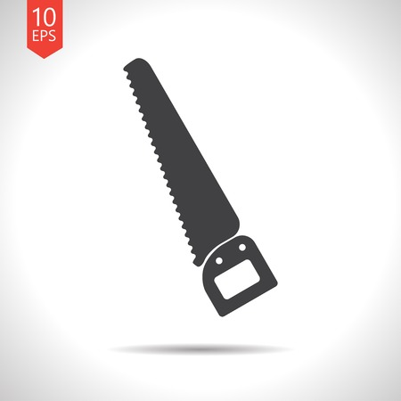 crosscut: Vector flat black saw icon on white background . Industrial equipment
