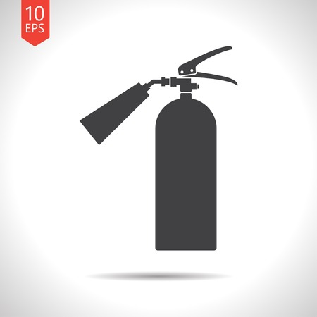 Vector flat black fire extinguisher icon on white background