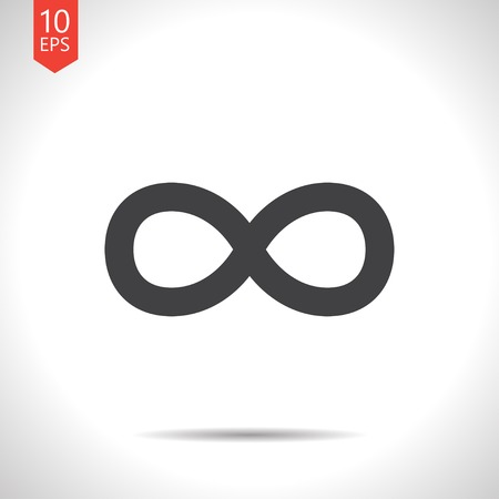 infinity icon: Vector flat black infinity icon on white background
