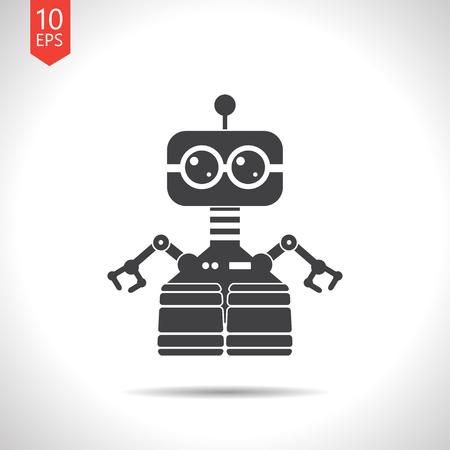retro robot: Vector flat black retro robot toy icon on white background Illustration