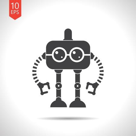 robot vector: Vector flat black retro robot toy icon on white background Illustration