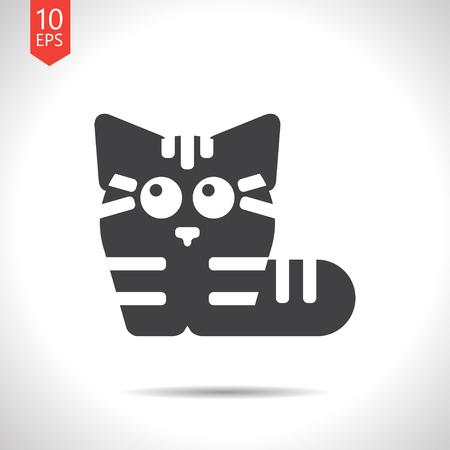 tomcat: Vector flat black cat icon on white background Illustration