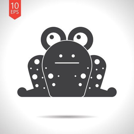 croak: Vector flat black frog icon on white background