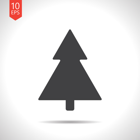giftware: Vector flat black christmas tree icon on white background Illustration
