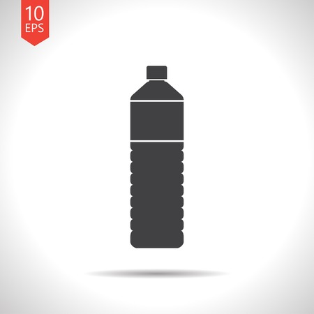 purified: Vector flat black water bottle on white background