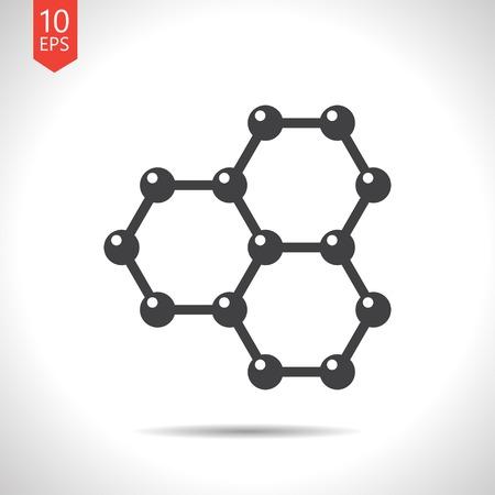 graphene: Vector flat black graphene icon on white background . Science illustration