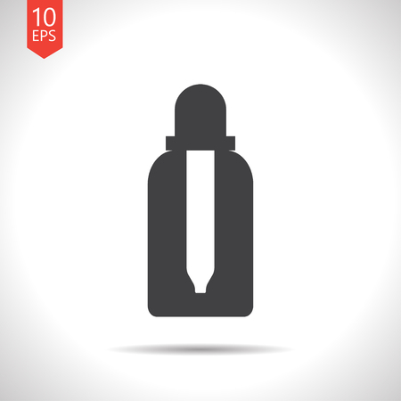 tincture: Vector flat black dropper bottle on white background. Health icon