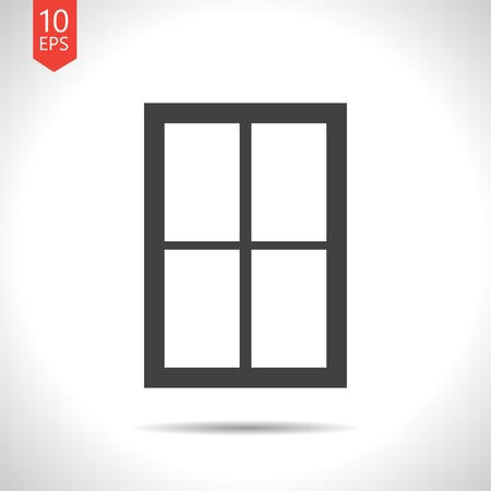 architectural styles: Vector flat black window icon on white background Illustration