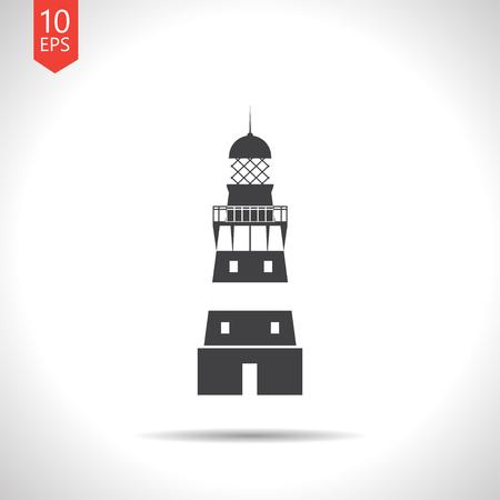 lighthouse keeper: Vector flat black lighthouse icon on white background Illustration