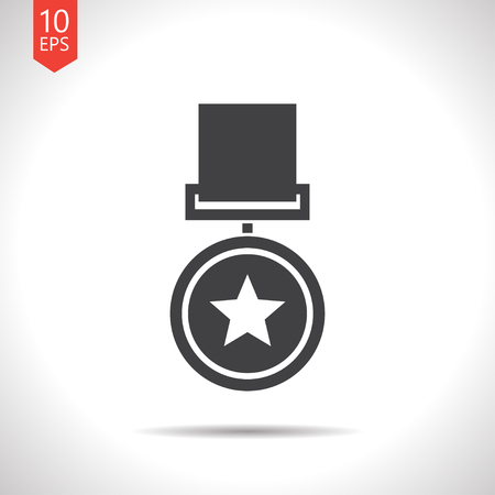 conquering: Vector flat black medal icon on white background . Winner award
