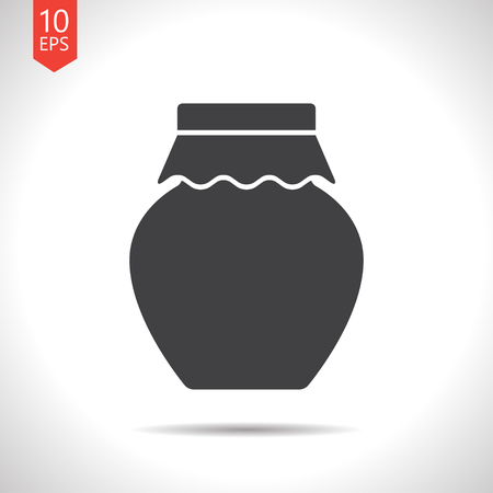 winter cherry: Vector flat black homemade jam bottle template on white background Illustration