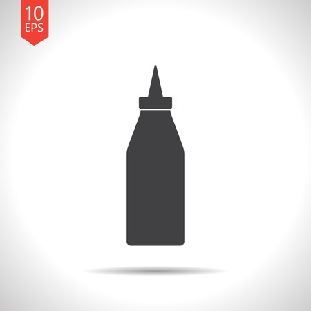 catsup bottle: Vector flat black bottle with ketchup icon on white background Illustration