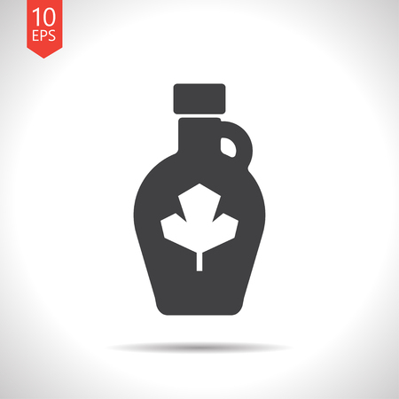 sweetness: Vector flat black maple syrup bottle template on white background