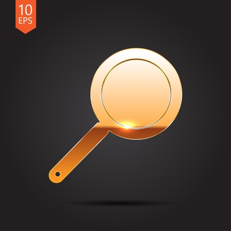 steam cooker: Vector gold pan icon on dark background