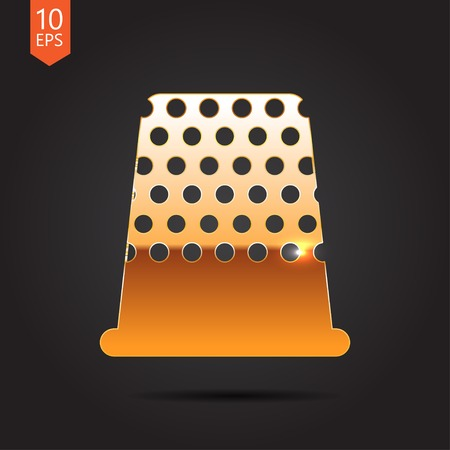 thimble: Vector gold tailor thimble for finger icon on dark background