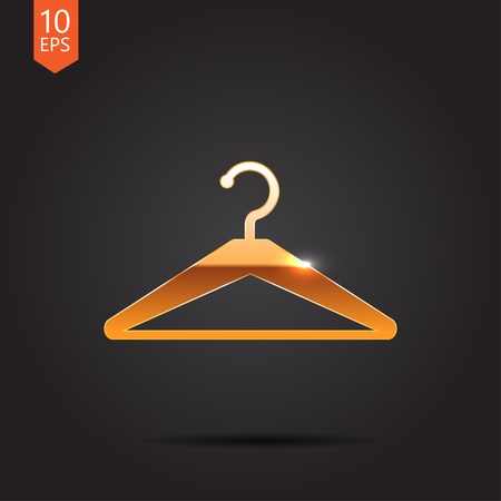 clothing rack: Vector gold tailor hanger icon on dark background