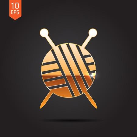ravel: Vector gold tailor ravel ball of yarn for knitting icon on dark background