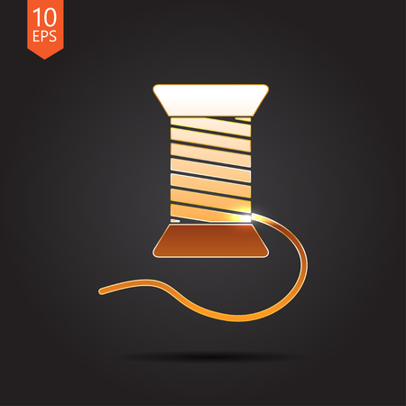 filling material: Vector gold tailor thread bobbin icon on dark background