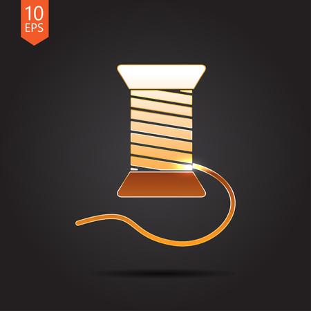 nylon string: Vector gold tailor thread bobbin icon on dark background