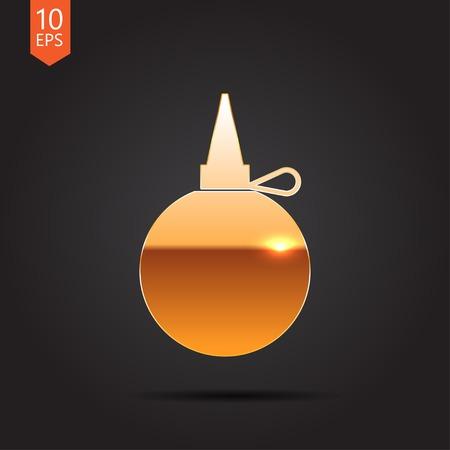 petrochemistry: Vector de oro icono de engrasador sastre sobre fondo oscuro