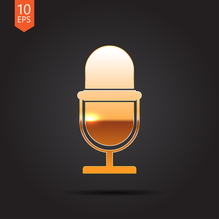 entertaining presentation: Vector gold retro microphone icon on dark background