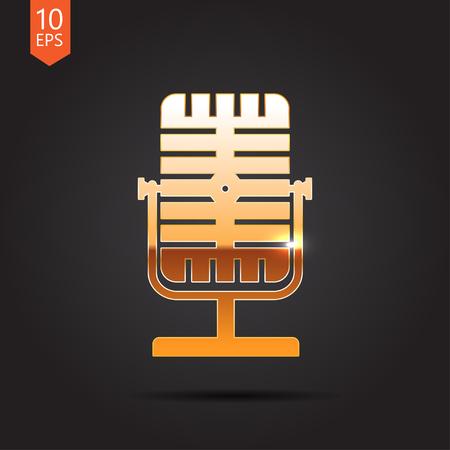 Vector gold retro microphone icon on dark background