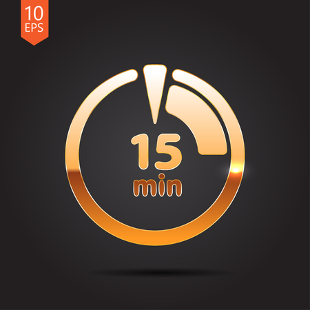 interval: Vector gold timer icon on dark background