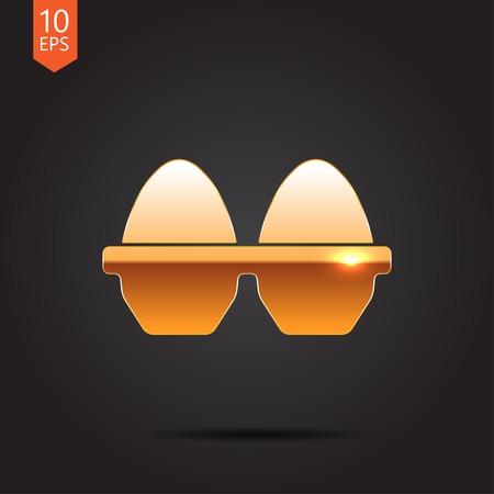 gold egg: Vector gold egg icon on dark background