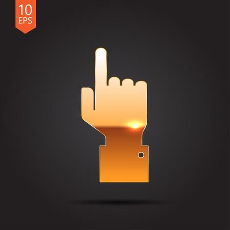 help section: Vetor gold hand pointer icon on dark background