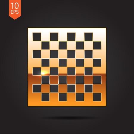 checkers: Vector gold checkers board icon on dark background