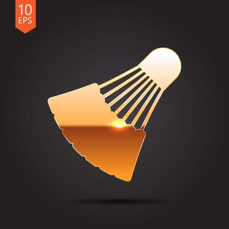 cross match: Vector gold simple badminton icon on dark background