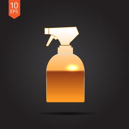 sprayer: Vector gold sprayer bottle on dark background Illustration