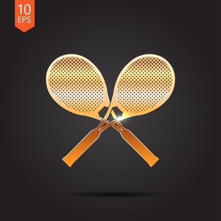Vector gold tennis rackets icon on dark background Illustration