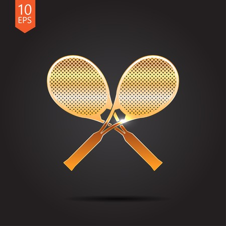 bounces: Vector gold tennis rackets icon on dark background Illustration