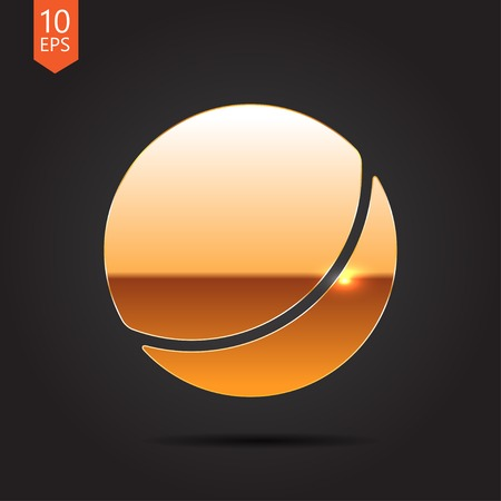 bounce: Vector gold ball icon on dark background