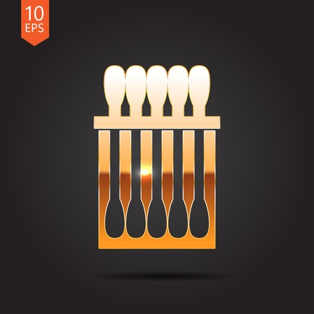 ear bud: Vector gold cotton swabs icon on dark background