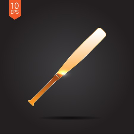 hitter: Vector gold baseball bat icon on dark background