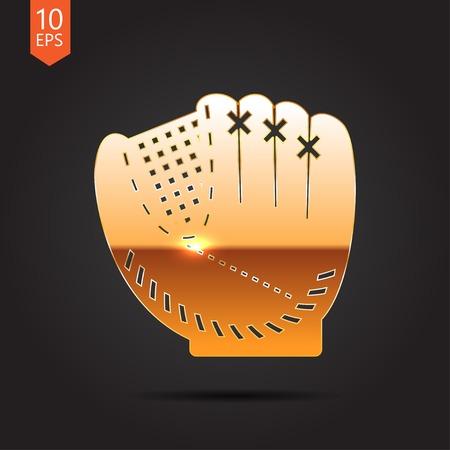 cowhide: Vector gold baseball glove icon on dark background