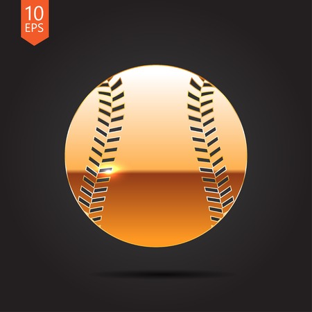 fast pitch: Vector gold baseball icon on dark background