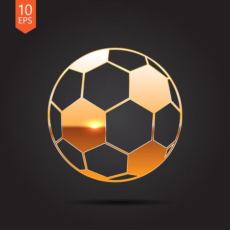 nfl: Vector gold football icon on dark background