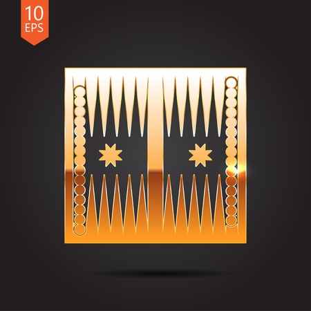 Vector gold backgammon table with dices icon on dark background Illustration